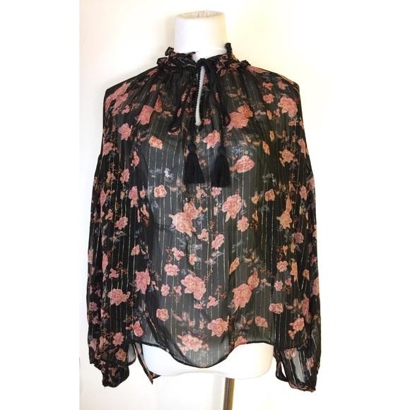 fff0680a7b3177 Zara Tops | Woman The Floral Lurex Blouse Size Large | Poshmark